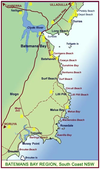 Batemans Bay Accommodation Map The center of each city listed is within 78 km of batemans bay, australia. batemans bay accommodation map