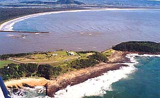 Aerial view of Crookhaven Heads and the mouth of the Crookhaven River, South Coast, NSW