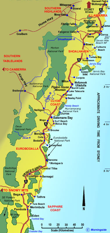 south coast nsw map towns